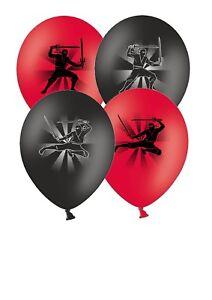 Ninja-12-034-Imprime-Rouge-amp-Noir-Assortis-Latex-Ballons-Pack-De-6-by-Party-Decor