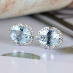 4Ct-Oval-Cut-Aquamarine-Push-Back-Halo-Stud-Earrings-Solid-18K-White-Gold-Finish