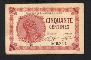 1922-France-50-centimes-Pirot-97-10-circulated-Chambre-de-Commerce-de-Paris