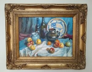 Gilt-Framed-Still-Life-Oil-Painting-Ming-Porcelain-Mid-20th-Century