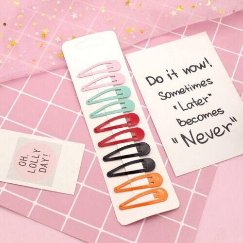 10pcs//set Cute Candy Hair Snap Clip Macaron Barrette Bobby Hairpin Hair Comb