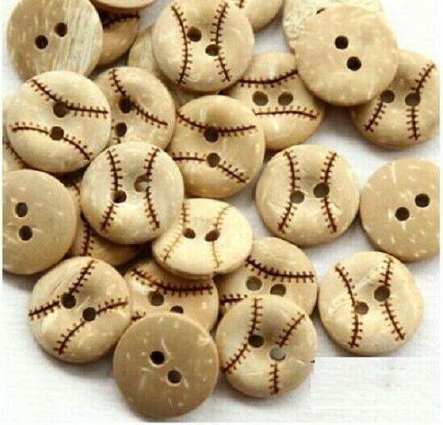 "246 50 BASEBALL 2-hole Coconut Shell Button 5//8/"" Scrapbook Craft 15mm"