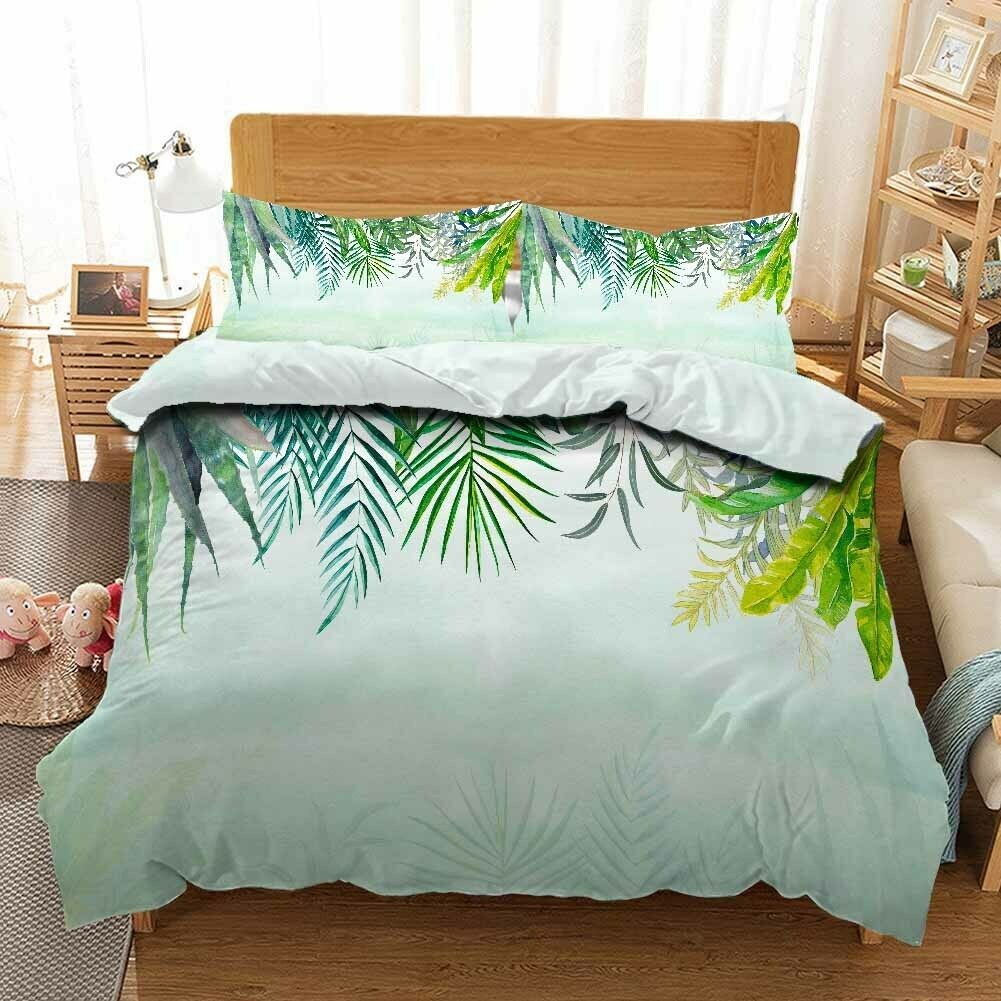 Pointed Long Leaf 3D Printing Duvet Quilt Doona Covers Pillow Case Bedding Sets