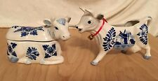 Vintage Delft Blue And White Porcelain Ceramic Cow Creamer and Sugar Bowl