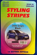 3mm BLACK PIN STRIPE COACHLINE TAPE x 10 METRE