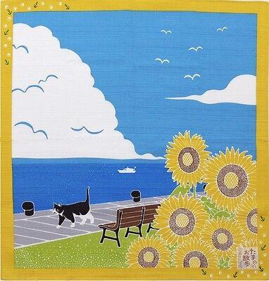 Japanese 12 Seasons in Kyoto Tama The Cat Furoshiki Scarf 'Himawari' Sunflowers