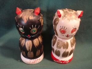 Vintage Cat Wooden Salt and Pepper Shakers
