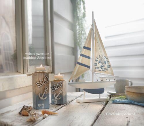 Bois flotté schwemmholz Photophore Seaside maritimes DECO Bleu Blanc coquillages ø16cm