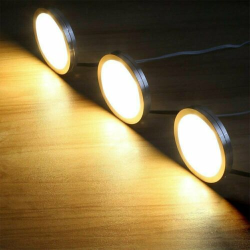 3//6x Under Cabinet Lighting Kit Closet Kitchen Counter LED Puck Light Warm White