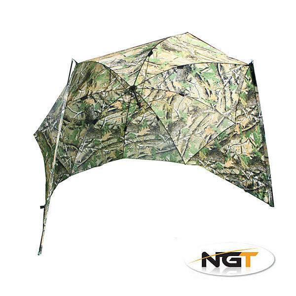 A0806 NGT CAMO BROLLY 50  WITH RODS CARP FISHING BIVVY UMBRELLA COVER CARP RIG