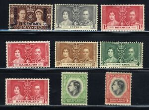 1937-British-12th-May-Coronation-King-George-VI-9-Stamp-Set-MNH-OG