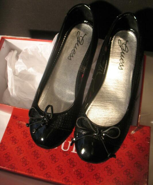 Guess Jeans Comfort Womens Shoes Patent Leather Size 6.5 M Black Slip On Flats