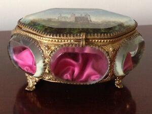 Antique Ornate French Brass/Beveled Glass Trinket/Jewelry Box