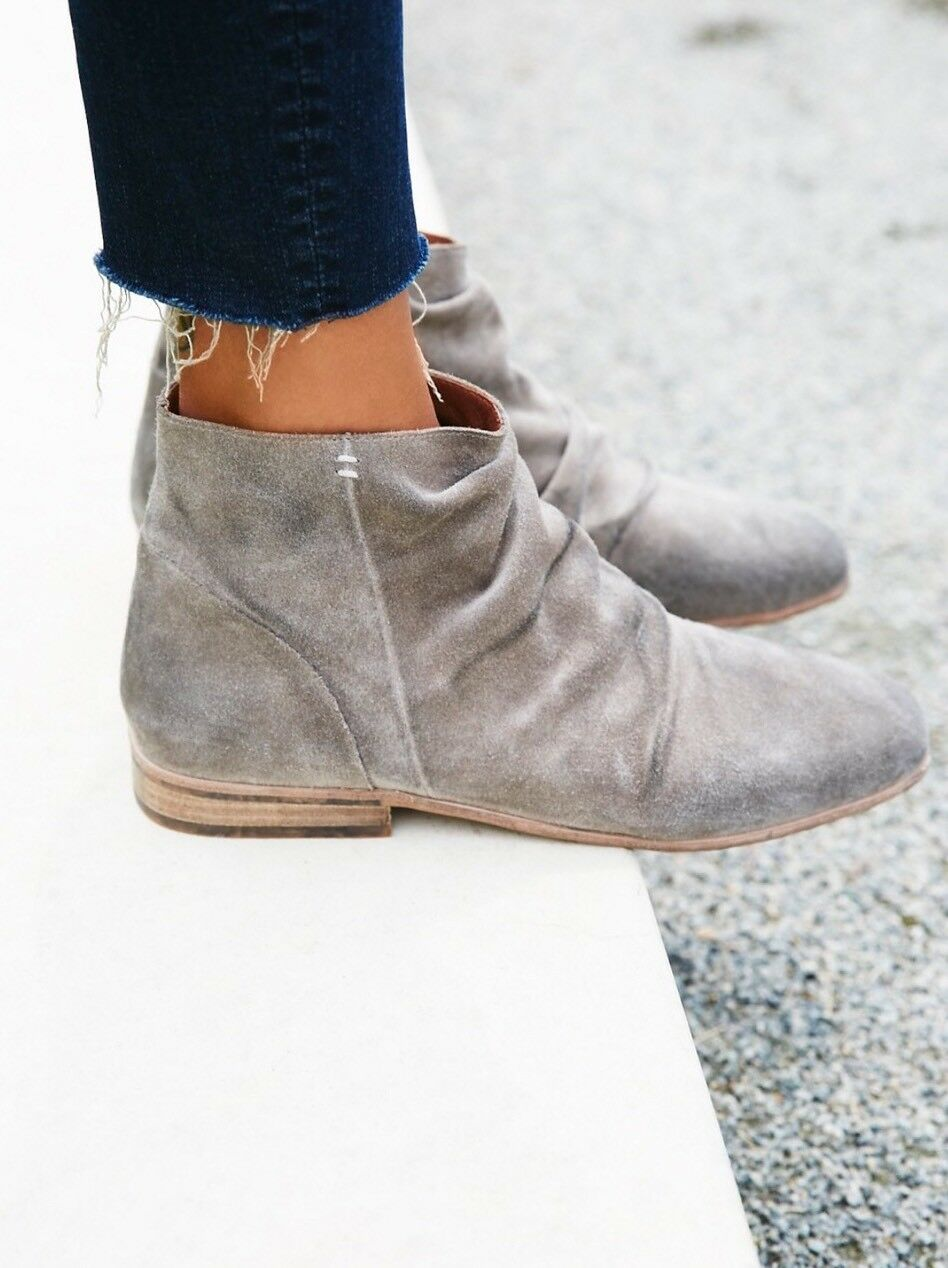 NEW Jeffrey Campbell Speir Light Gray Suede Ankle Stiefel Größe 6 Slouchy