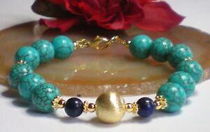 Tuerkis-Howlith-Lapis-Lazuli-Armband-10-6-mm-925-Silber-24-Kt-vergoldet-Nr-HWLG