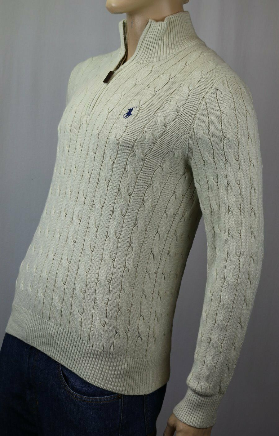 POLO Ralph Lauren Cream 1/2 Half Zip Silk Sweater Navy Blau Pony NWT 125