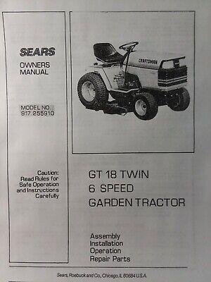 1978 sears gt18 hydrostatic parts manual