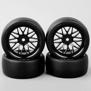 4-un-1-10-RC-Drift-Racing-Car-slicks-Neumaticos-Neumaticos-amp-Wheels-6mm-Offset-Para-Hpi-coche