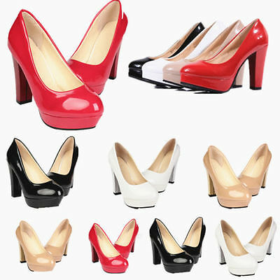 Womens Patent Leather Round Toe Stiletto High Heels Pumps Platform Wedge Shoes