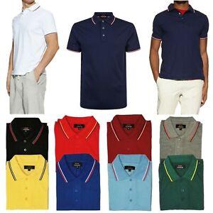 Men-Polo-Shirt-Cotton-T-Shirt-Jersey-Golf-Sport-Short-Sleeve-Casual-Stripe-Tee