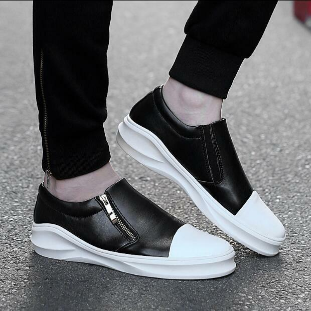 Mens Side Zip Casual Athletic Sneakers Hidden Heels Loafers shoes Sports Fashion