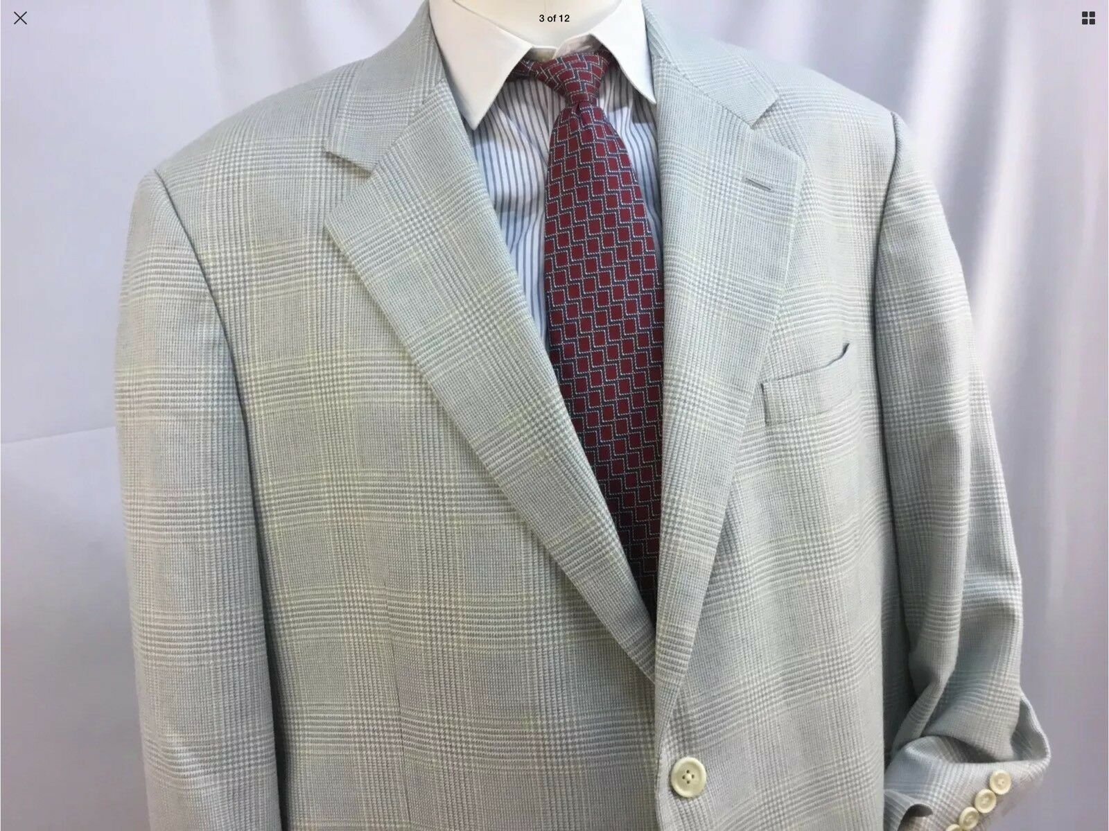 Brooks Brothers Blazer 45R grau Glen Plaid Wool Silk 2b 1v 45 R  YGI YG8