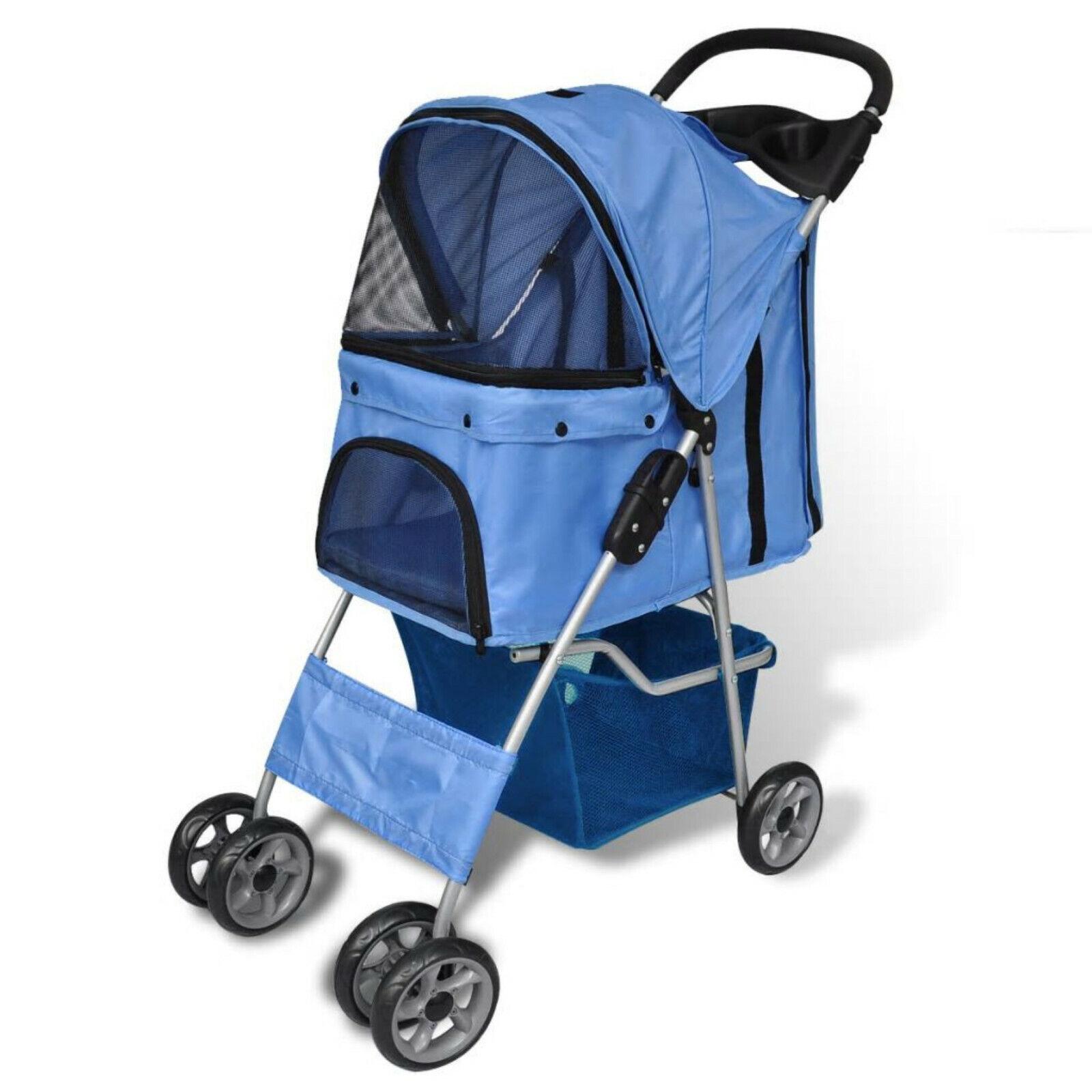 Folding Pet Stroller Travel Carrier with Storage Basket Dog Cat Trolley Blau