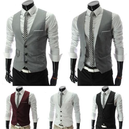 UK Men/'s Formal Casual Dress Vest Tie Suit Slim Fit Tuxedo Waistcoat Jacket Coat