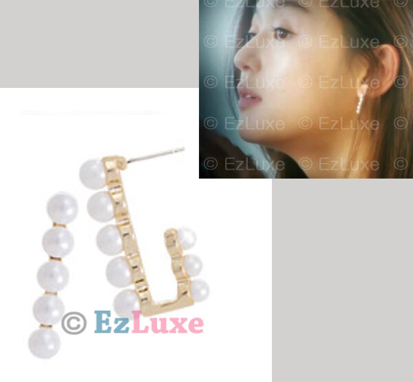 Korean Drama MY LOVE FROM THE STAR Straight Pearl Front and & Back Stud Earrings