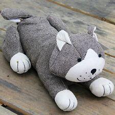 HERRINGBONE Fabric mentendo Cat Doorstop ~ Brown CAT DOOR STOP