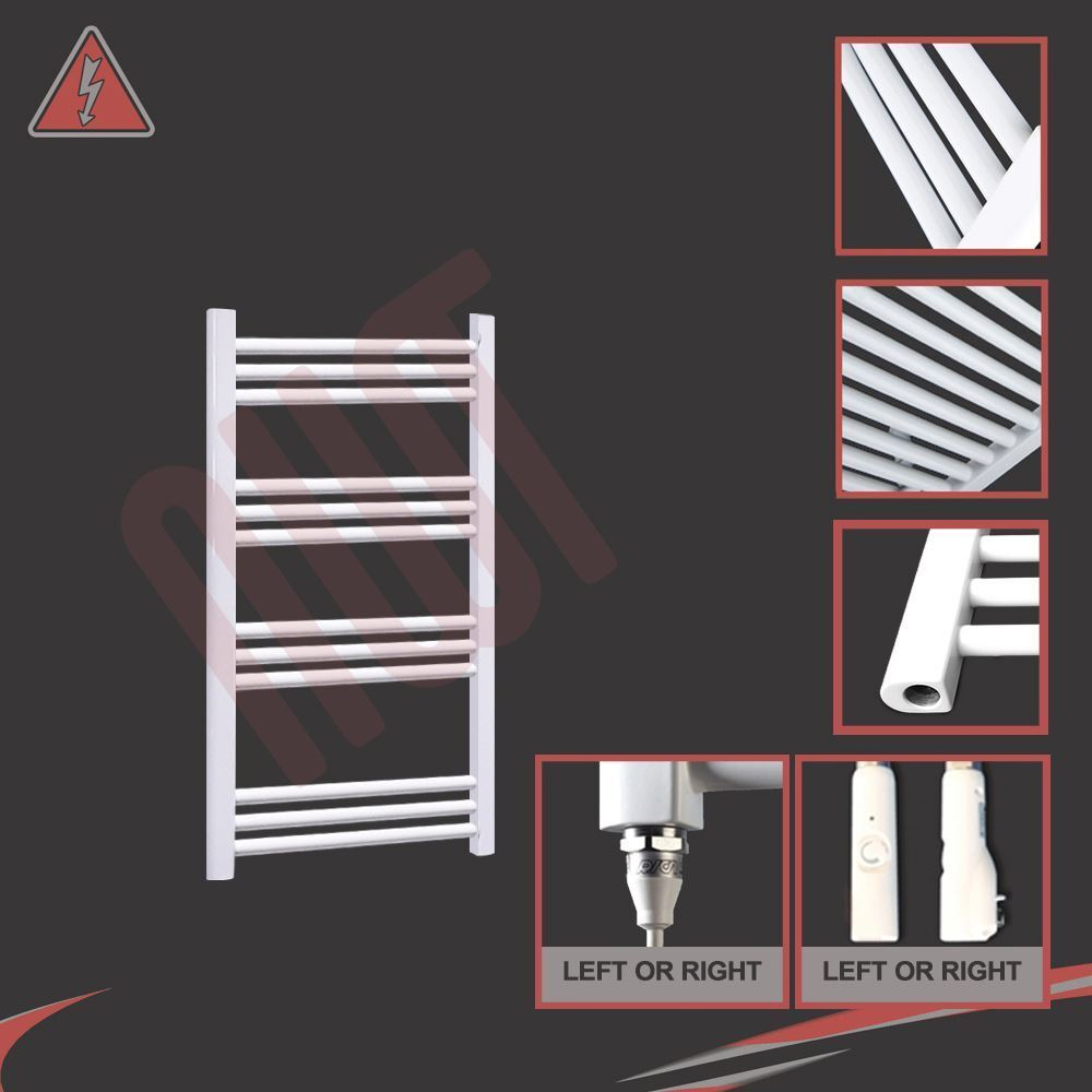 600mm(w) x 800mm(h) Pre-filled Electric 150W Straight Weiß Towel Rail Radiator