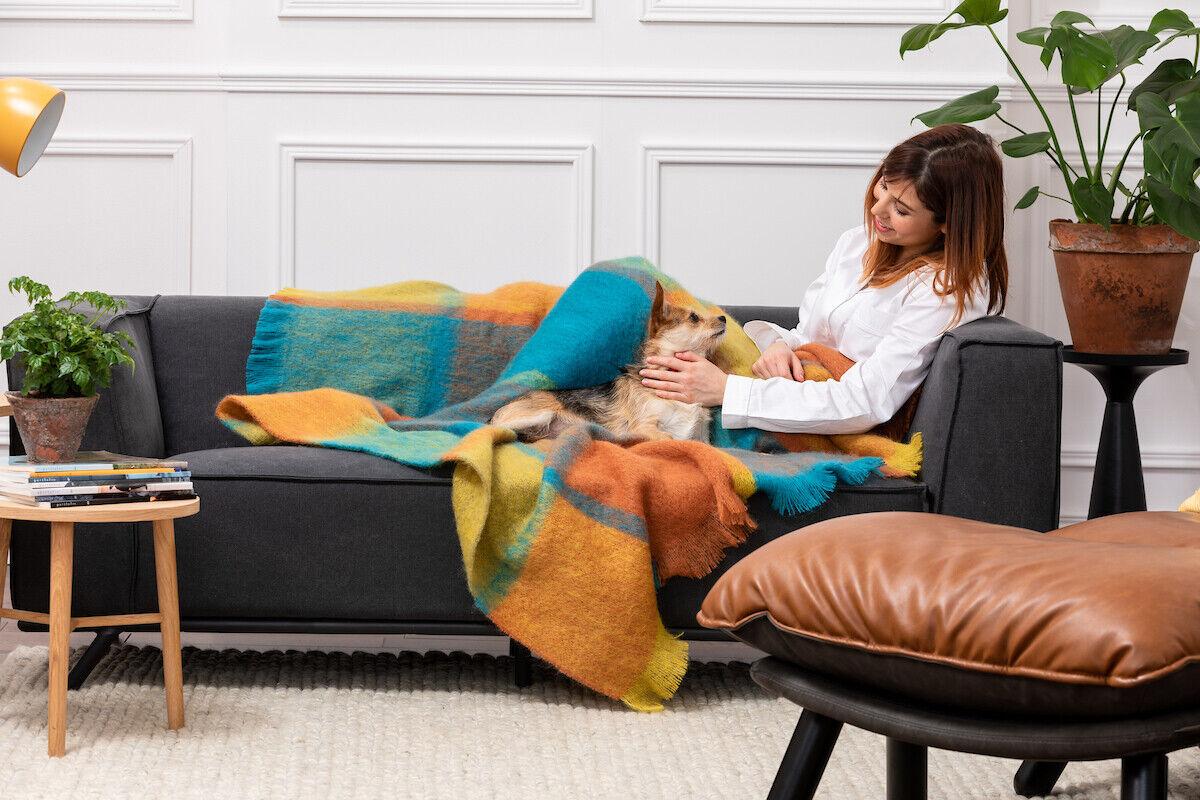Foxford Super Soft Mustard orange Mohair Blanket Throw 4257 b2 - Made in Ireland