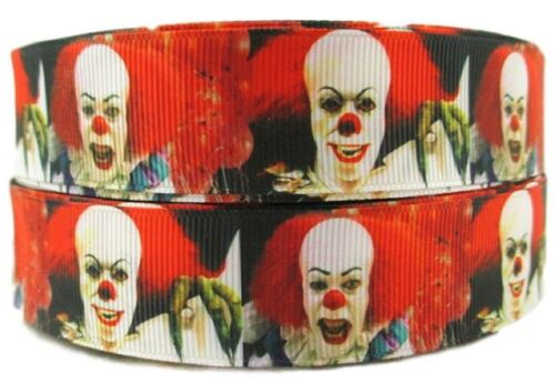 "Stephen King IT Clown 1/"" Wide Repeat Ribbon Sold in Yards USA SELLER"