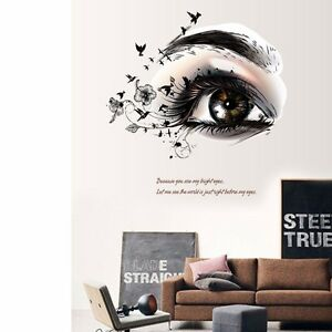 Image is loading Beautiful-Women-Big-Eye-Wall-Art-Decal-Removable-  sc 1 st  eBay : removable wall art decals - www.pureclipart.com