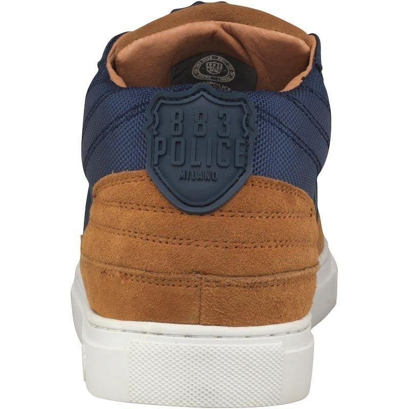 883 Police UK Spark  Uomo UK Police 8 EU 42 Navy Blau & Tan Suede Lace Up Trainers Sneakers 66eb50