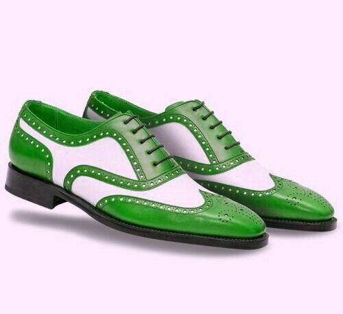 Handmade Men's verde bianca Wing Tip Brogue Toe nero  Sole Leather scarpe  Senza tasse