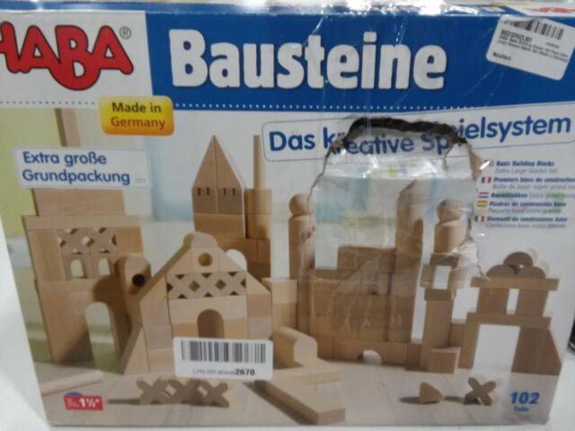 HABA Basic Building Blocks 102 Piece Extra Large Wooden Starter Set