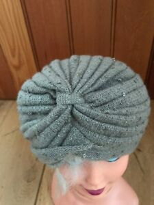 MONSOON ACCESSORIZE COFFEE BROWN KNITTED SEQUIN TURBAN HAT ONE SIZE NEW UNWORN