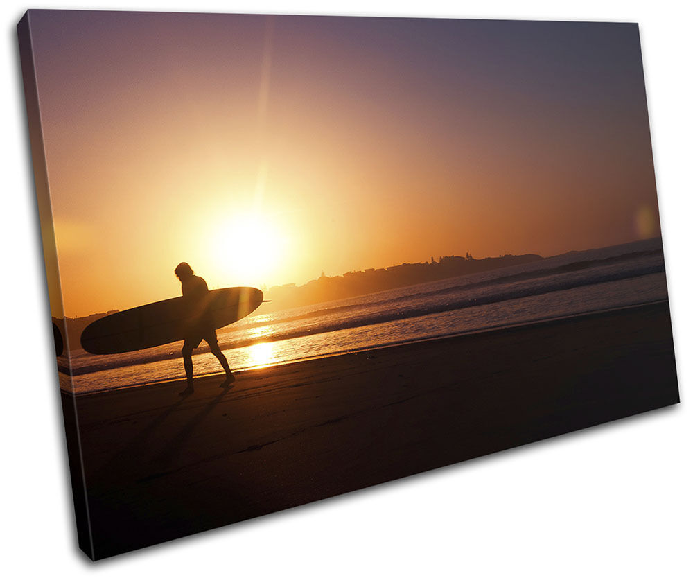 Sunset Surfer Beach Landscapes SINGLE TELA parete arte foto stampa