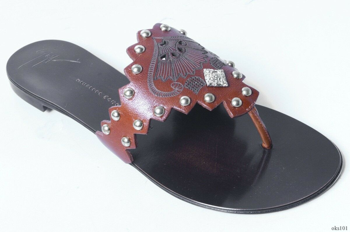 New  550 Giuseppe ZANOTTI brown leather STUDDED jeweled thong thong thong mules flats shoes 5817e1