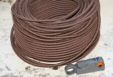 Brown Round 18/2 Antique Wire -Cloth Electrical Cord - 25' UL Listed 18/2 Vin...
