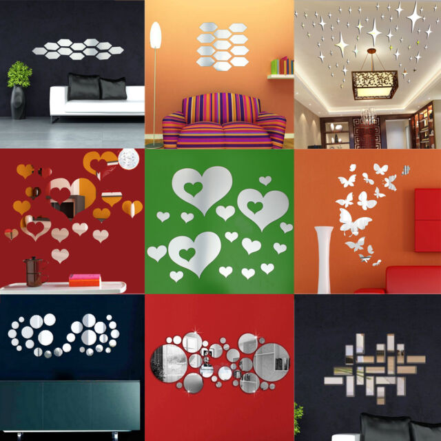 DIY 3D Mirror Acrylic Wall Sticker Home Removable Mural Decal Art Decor Styles