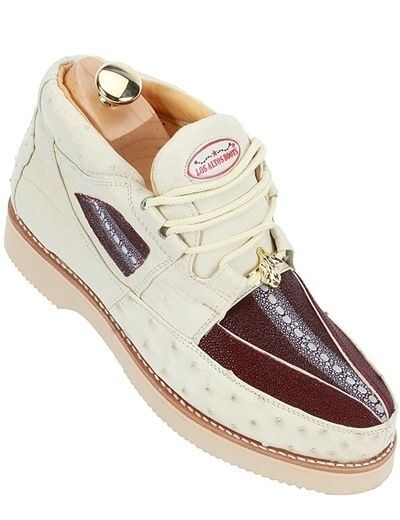 Scarpe casual da uomo  uomos Los Altos Cream Burgundy Authentic Stingray Ostrich Sneaker Casual Shoe