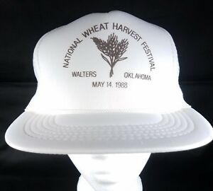 National-Wheat-Harvest-Hat-Snapback-Trucker-Cap-OK-Farmer-Festival-OSFA-Vtg-1988