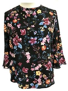 Ladies-Ditsy-Floral-Top-Black-Multicoloured-UK-Sizes-10-12-14-16-18-new-Branded