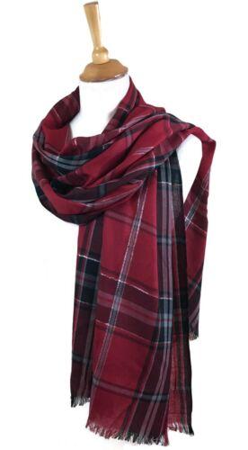 Frappant d/'hiver écharpe Pashmina Carreaux Rouges Fil d/'Argent 180 x 70 cm tissu doux