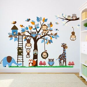 wandtattoo wandsticker aufkleber blau junge baby affe eule. Black Bedroom Furniture Sets. Home Design Ideas