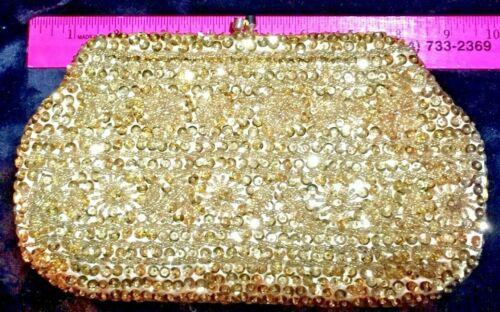 VTG Mid-Century Modern Gold Satin Hand Beaded and