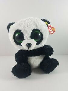 New-with-Tag-Ty-Beanie-Boos-BAMBOO-the-Panda-Bear-9-Inch-Medium-Light-Wear