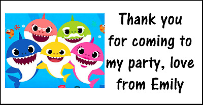 15 Personalised Baby Shark Birthday Party Thank You Sweet Cone Stickers Seals
